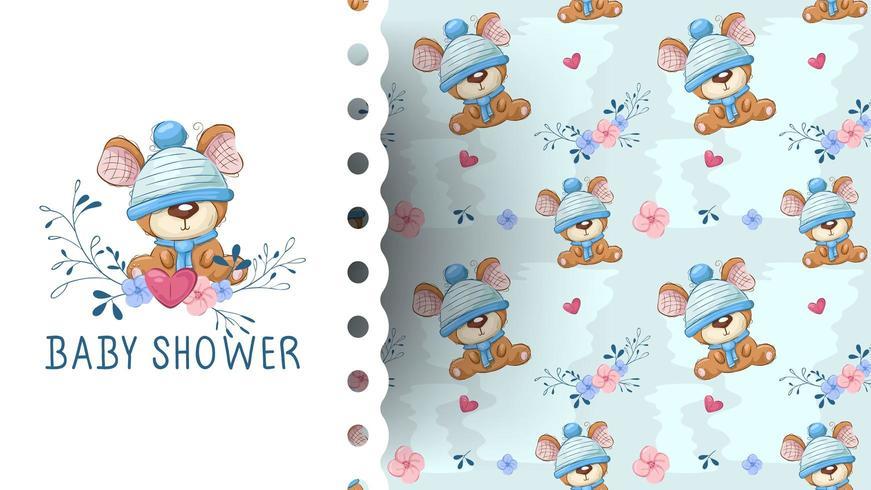 Teddybeer met bloem cartoon