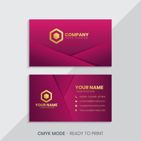 Red luxury golden business card with abstract lines vector
