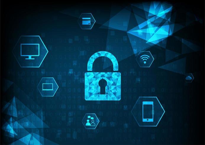 Vorhängeschloss mit Schlüsselloch und Symbol auf digitale Daten Hintergrund.