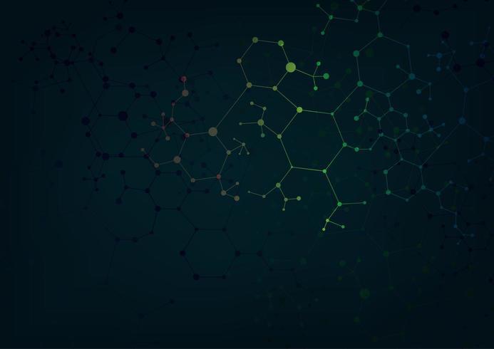 Tableau avec des particules dynamiques en mouvement. Structure de la molécule nodale. vecteur
