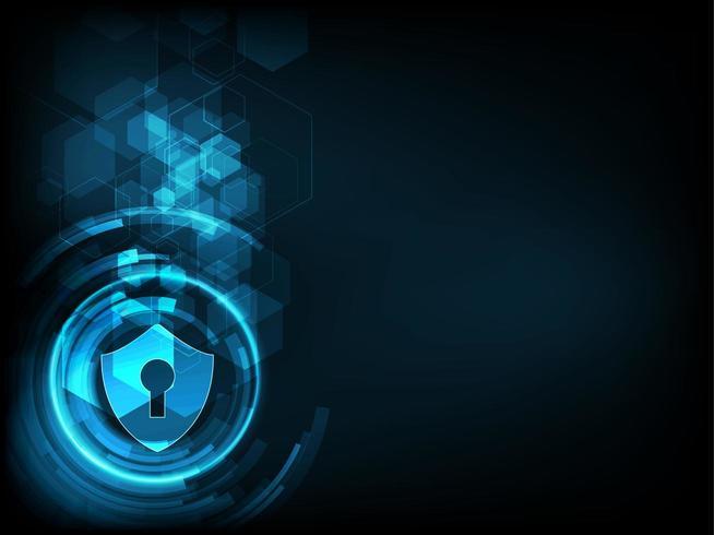Icono de escudo con cerradura en el fondo de datos digitales.