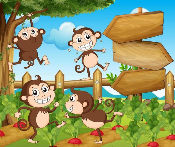 Garden scene with monkeys and signs vector