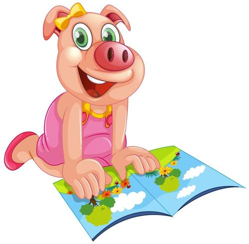 Glückliches Schwein, das ein Buch liest