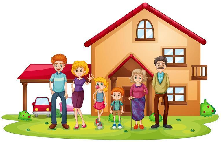 Una gran familia frente a una casa grande