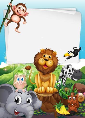 Diseño de borde con animales salvajes