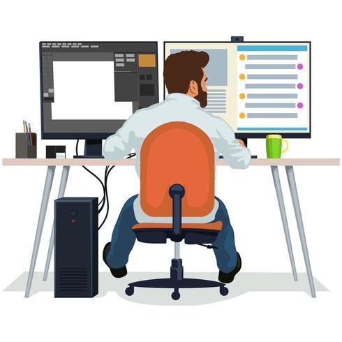 Un uomo sta lavorando nel suo ufficio