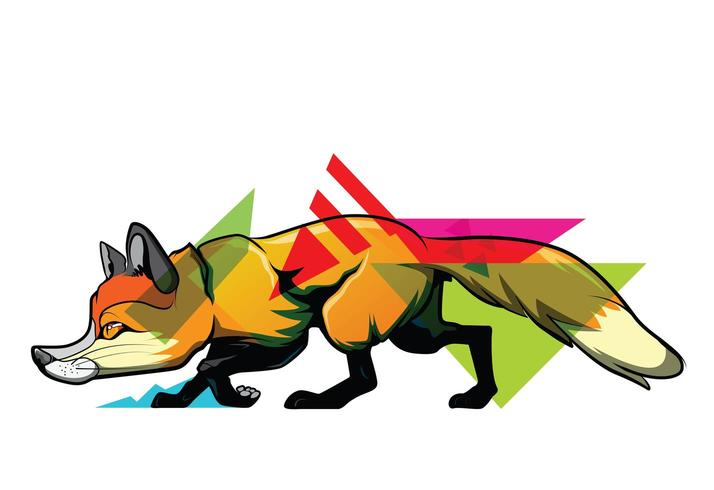 Fuchs mit bunten geometrischen Elementen