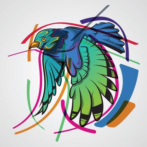 Diseño de colibrí con líneas de colores sobre fondo blanco.