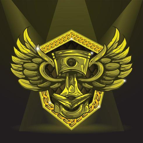 Piston en or avec des ailes sur le bouclier. vecteur