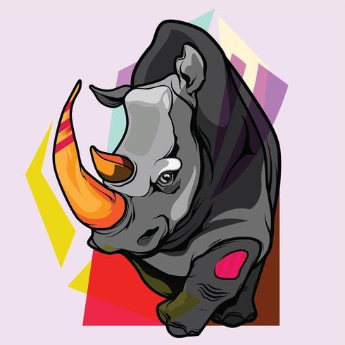 illustrazione disegnata a mano di rinoceronte con elementi decorativi.