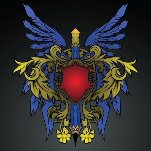 shield wing and pencil emblem