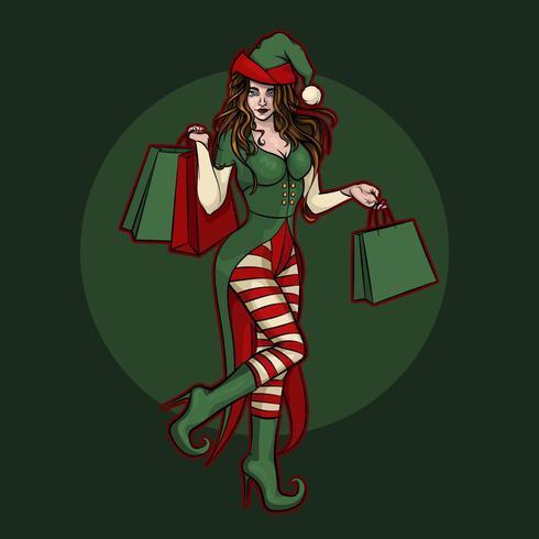 Beautiful Christmas elf girl with gift bags