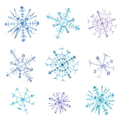 Conjunto de copos de nieve acuarelas. Decoración navideña