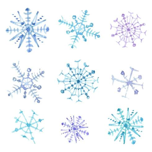 Set of watercolor snowflakes. Christmas decor vector