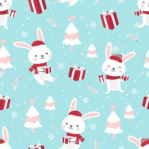 Christmas seamless pattern with bunny vector