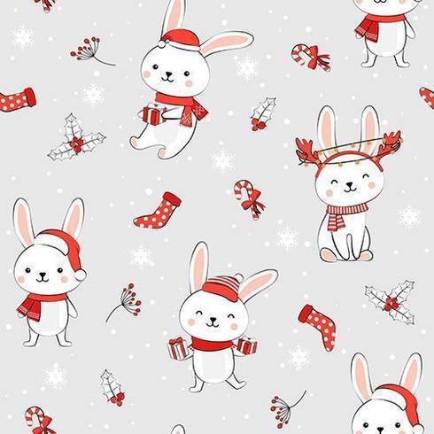 Padrão sem emenda de Natal com coelho vetor