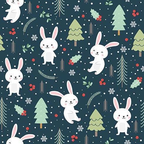 Weihnachtsnahtloses Muster mit Häschen