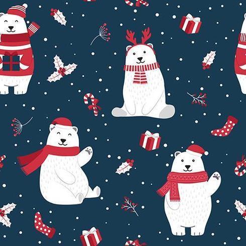 Christmas seamless pattern with polar bear