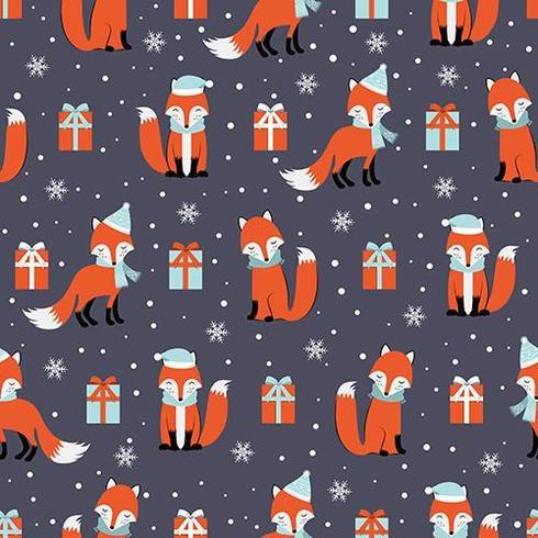 Christmas seamless pattern with fox and gifts