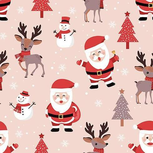 Christmas seamless pattern with santa and reindeer