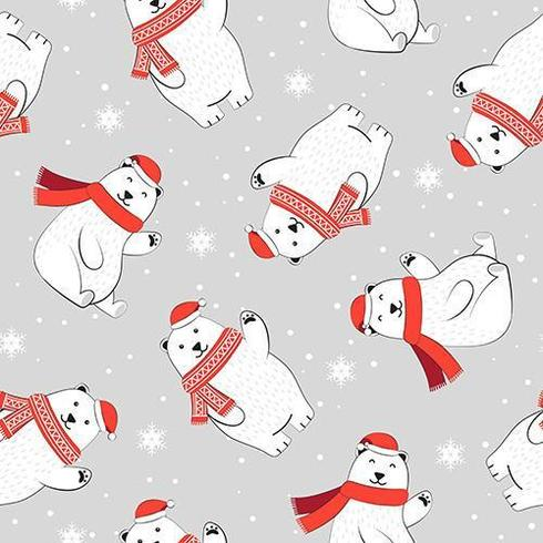 Christmas seamless pattern with polar bear and scarf