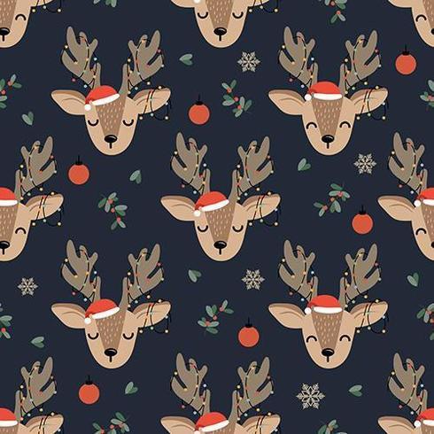 Christmas Lights Deer seamless pattern with reindeer