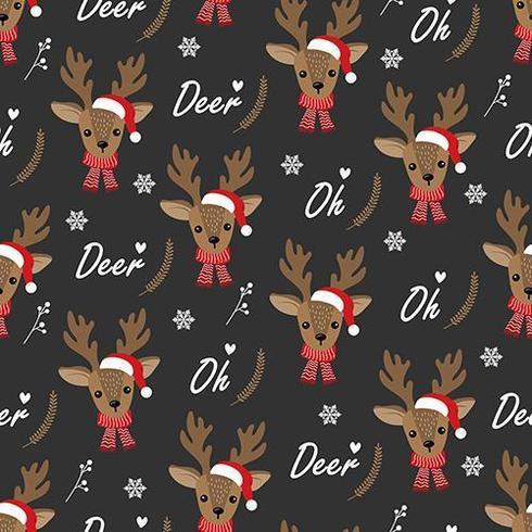 Oh Deer Christmas seamless pattern with reindeer vector