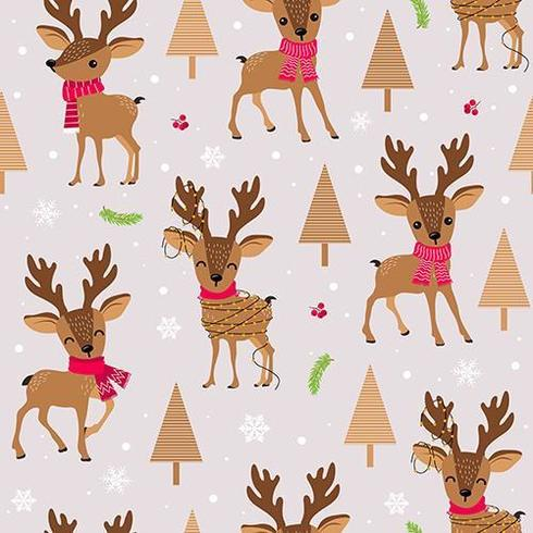 Christmas reindeer with scarf seamless pattern