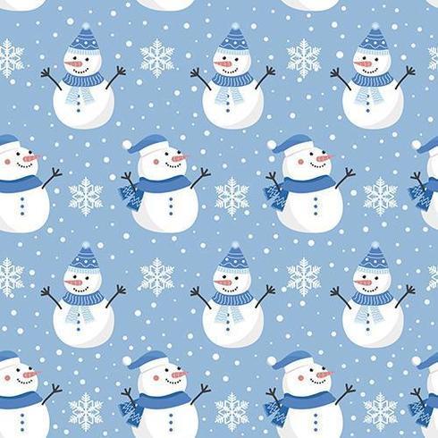 Patrón sin costuras de Navidad con muñeco de nieve