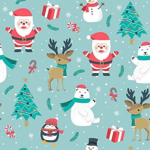 Navidad de patrones sin fisuras con santa y renos vector