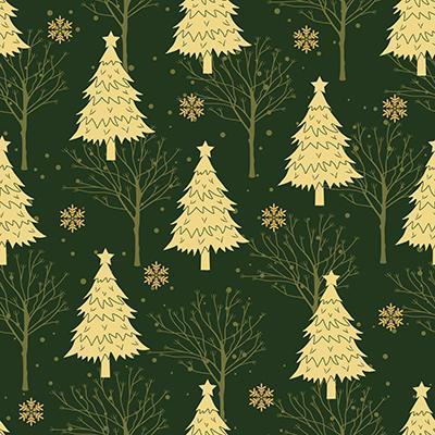 Green Christmas tree seamless pattern vector
