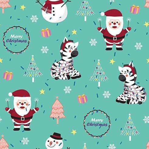 Modèle sans couture de Noël avec zèbre et père Noël