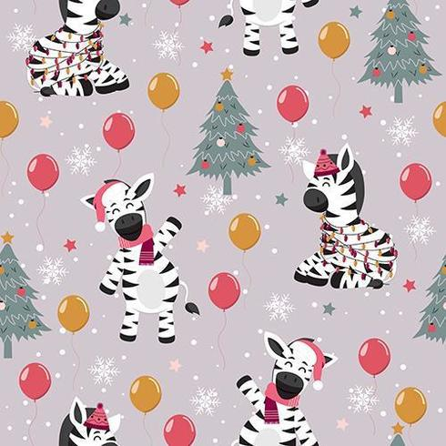 Kerstboom en Zebra Winter naadloos patroon