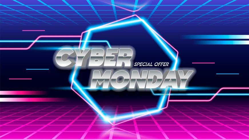 Design de cartaz de venda segunda-feira Cyber em fundo azul e rosa.