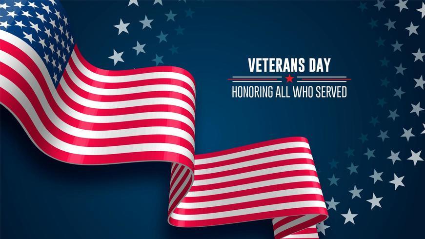 Fundo da bandeira do dia dos veteranos vetor