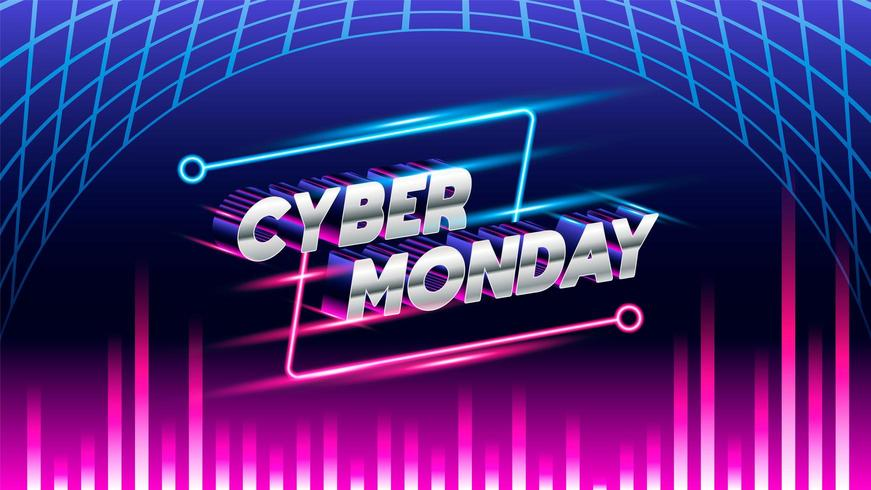 Cyber monday glow background vector
