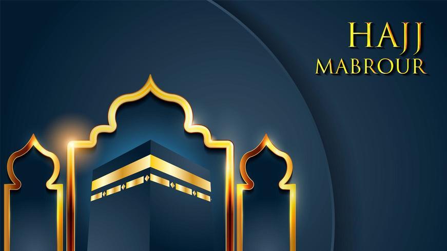 Modello di biglietto di auguri islamico per Hajj