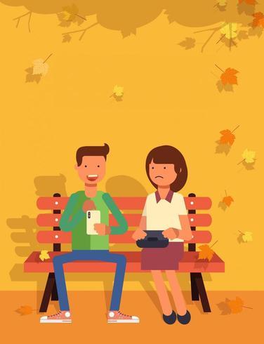 Par sitter i en park