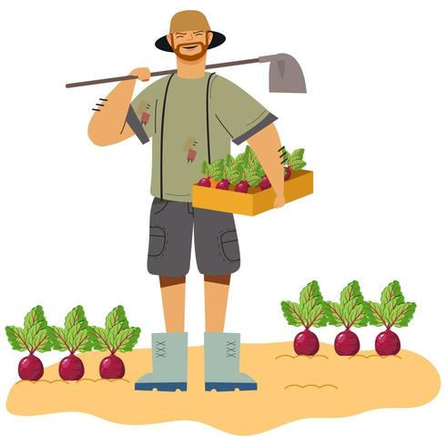The Happy Farmer with Radishes