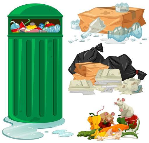 Cestino e diversi tipi di rifiuti vettore