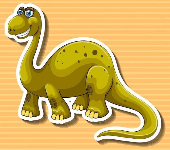 Dinosaurio marrón con cara feliz vector