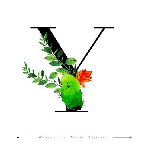 Alphabet-Buchstabe Y mit Aquarellkaktus und -blättern