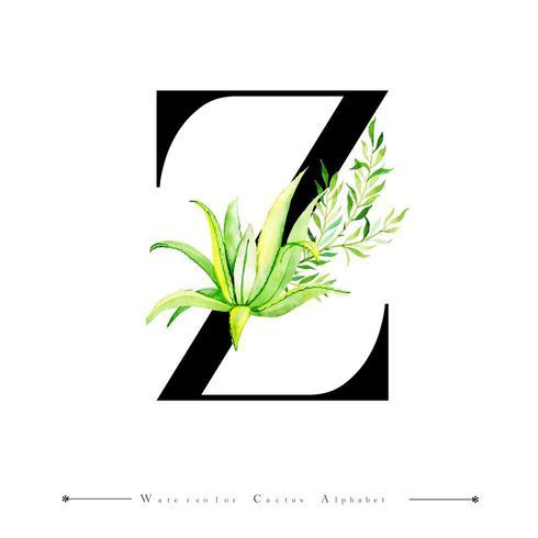 Alphabet-Buchstabe Z mit Aquarellkaktus und -blättern