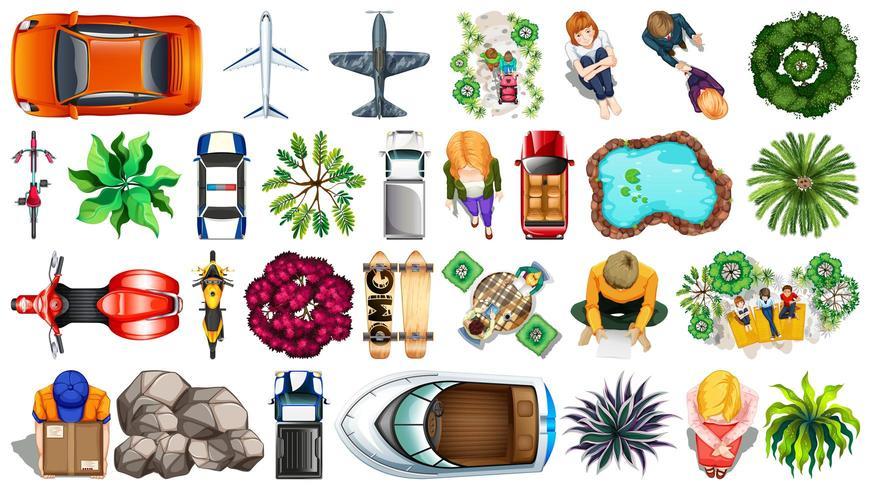 Conjunto de diferentes elementos de vista aérea