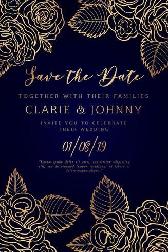 Hand Drawn Floral Wedding Invitation Card
