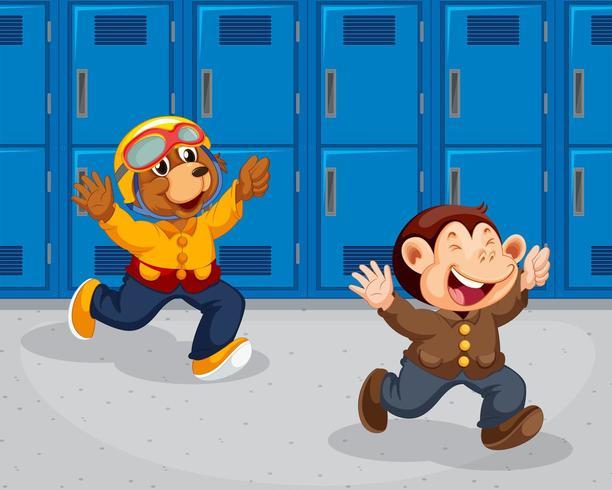 Scimmia e orso che corrono a scuola
