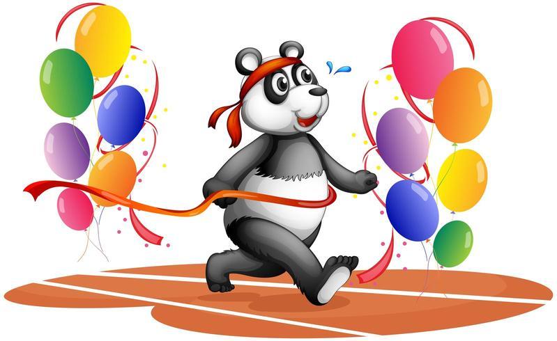 Een panda met kleurrijke ballonnen