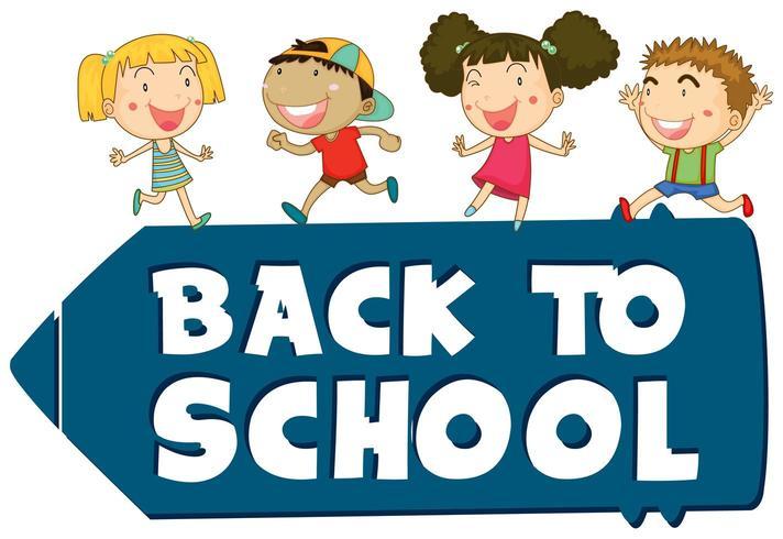 Tema de signo de regreso a la escuela con niños vector