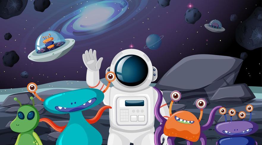 Astronaut and alien scene vector