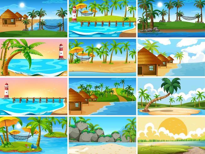Uppsättning av naturscener med tropiska havet med stränder